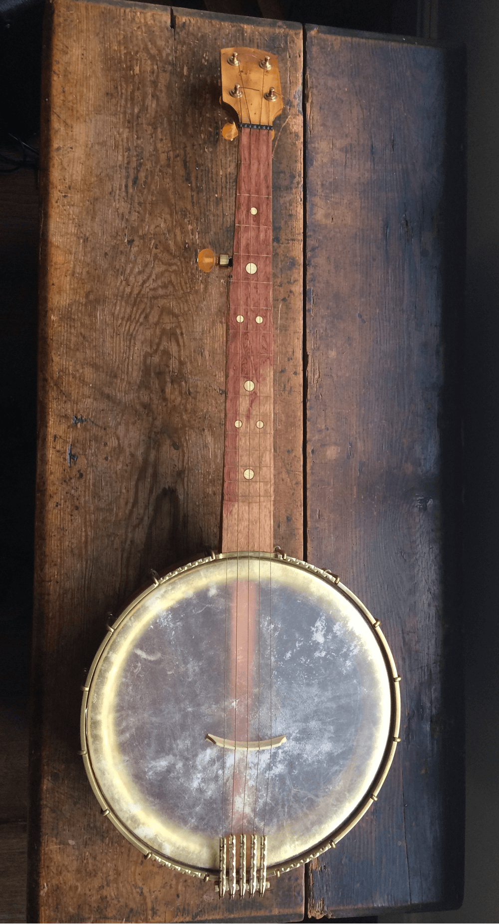 Front view of Yew banjo